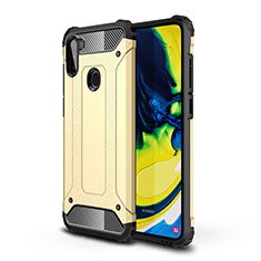 Silicone Matte Finish and Plastic Back Cover Case for Samsung Galaxy A11 Gold