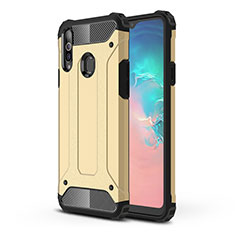 Silicone Matte Finish and Plastic Back Cover Case for Samsung Galaxy A20s Gold