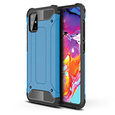 Silicone Matte Finish and Plastic Back Cover Case for Samsung Galaxy A51 4G Sky Blue