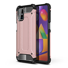 Silicone Matte Finish and Plastic Back Cover Case for Samsung Galaxy M31s Rose Gold
