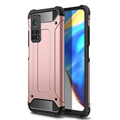 Silicone Matte Finish and Plastic Back Cover Case for Xiaomi Mi 10T 5G Rose Gold