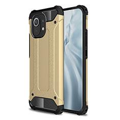 Silicone Matte Finish and Plastic Back Cover Case for Xiaomi Mi 11 5G Gold
