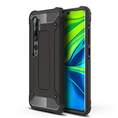 Silicone Matte Finish and Plastic Back Cover Case for Xiaomi Mi Note 10 Black