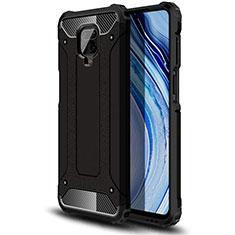 Silicone Matte Finish and Plastic Back Cover Case for Xiaomi Redmi Note 9 Pro Black