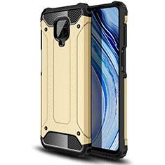 Silicone Matte Finish and Plastic Back Cover Case for Xiaomi Redmi Note 9 Pro Gold