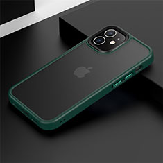 Silicone Matte Finish and Plastic Back Cover Case N01 for Apple iPhone 12 Mini Green