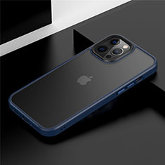 Silicone Matte Finish and Plastic Back Cover Case N01 for Apple iPhone 12 Pro Max Blue