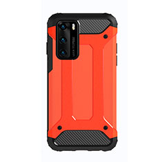 Silicone Matte Finish and Plastic Back Cover Case N01 for Huawei P40 Red
