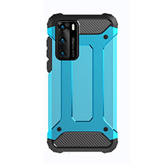 Silicone Matte Finish and Plastic Back Cover Case N01 for Huawei P40 Sky Blue