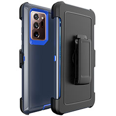 Silicone Matte Finish and Plastic Back Cover Case N04 for Samsung Galaxy Note 20 Ultra 5G Blue and Black