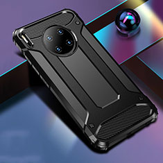 Silicone Matte Finish and Plastic Back Cover Case R01 for Huawei Mate 30 Black