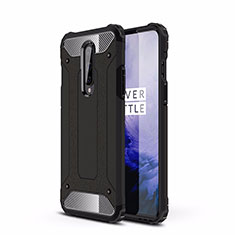 Silicone Matte Finish and Plastic Back Cover Case R01 for OnePlus 8 Black