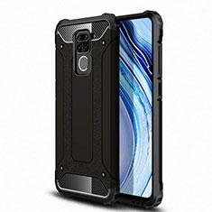 Silicone Matte Finish and Plastic Back Cover Case R01 for Xiaomi Redmi Note 9 Black