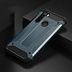 Silicone Matte Finish and Plastic Back Cover Case R02 for Xiaomi Redmi Note 8 Blue
