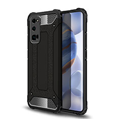 Silicone Matte Finish and Plastic Back Cover Case U01 for Huawei Honor 30 Pro Black