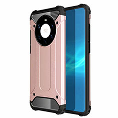 Silicone Matte Finish and Plastic Back Cover Case U01 for Huawei Mate 40 Pro+ Plus Rose Gold