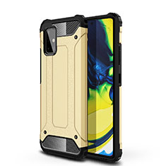 Silicone Matte Finish and Plastic Back Cover Case U01 for Samsung Galaxy A71 5G Gold
