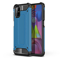 Silicone Matte Finish and Plastic Back Cover Case U01 for Samsung Galaxy M51 Sky Blue