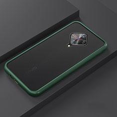 Silicone Matte Finish and Plastic Back Cover Case U01 for Vivo X50 Lite Cyan
