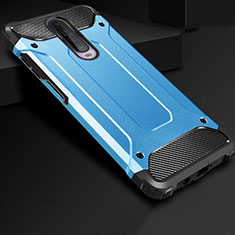 Silicone Matte Finish and Plastic Back Cover Case U01 for Xiaomi Redmi K30 5G Sky Blue