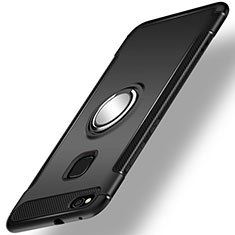 Silicone Matte Finish and Plastic Back Cover Case with Finger Ring Stand for Huawei GR3 (2017) Black