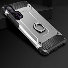 Silicone Matte Finish and Plastic Back Cover Case with Finger Ring Stand for Huawei Honor 20 Pro Silver