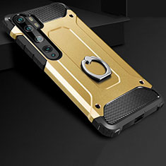 Silicone Matte Finish and Plastic Back Cover Case with Finger Ring Stand H01 for Xiaomi Mi Note 10 Pro Gold