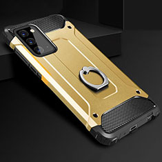 Silicone Matte Finish and Plastic Back Cover Case with Finger Ring Stand N01 for Samsung Galaxy Note 20 5G Gold