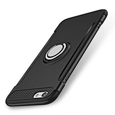Silicone Matte Finish and Plastic Back Cover Case with Finger Ring Stand S01 for Apple iPhone 7 Black