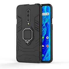 Silicone Matte Finish and Plastic Back Cover Case with Finger Ring Stand S01 for OnePlus 7 Pro Black