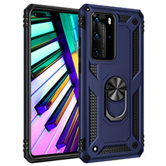Silicone Matte Finish and Plastic Back Cover Case with Magnetic Finger Ring Stand C01 for Huawei P40 Pro Blue