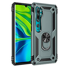 Silicone Matte Finish and Plastic Back Cover Case with Magnetic Finger Ring Stand D01 for Xiaomi Mi Note 10 Green