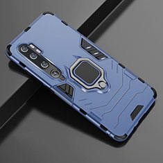 Silicone Matte Finish and Plastic Back Cover Case with Magnetic Finger Ring Stand D02 for Xiaomi Mi Note 10 Pro Blue