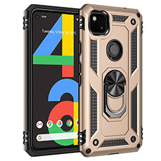 Silicone Matte Finish and Plastic Back Cover Case with Magnetic Finger Ring Stand for Google Pixel 4a Gold