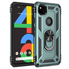 Silicone Matte Finish and Plastic Back Cover Case with Magnetic Finger Ring Stand for Google Pixel 4a Matcha Green