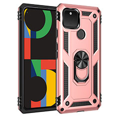 Silicone Matte Finish and Plastic Back Cover Case with Magnetic Finger Ring Stand for Google Pixel 5 Rose Gold