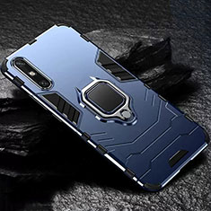 Silicone Matte Finish and Plastic Back Cover Case with Magnetic Finger Ring Stand for Huawei Enjoy 10e Blue