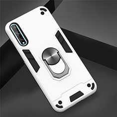 Silicone Matte Finish and Plastic Back Cover Case with Magnetic Finger Ring Stand for Huawei Enjoy 10S White