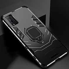 Silicone Matte Finish and Plastic Back Cover Case with Magnetic Finger Ring Stand for Huawei Honor Play4T Pro Black