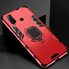 Silicone Matte Finish and Plastic Back Cover Case with Magnetic Finger Ring Stand for Huawei Honor Play4T Red