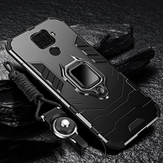 Silicone Matte Finish and Plastic Back Cover Case with Magnetic Finger Ring Stand for Huawei Mate 30 Lite Black