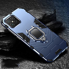 Silicone Matte Finish and Plastic Back Cover Case with Magnetic Finger Ring Stand for Huawei Nova 8 SE 5G Blue