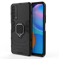 Silicone Matte Finish and Plastic Back Cover Case with Magnetic Finger Ring Stand for Huawei P Smart (2021) Black