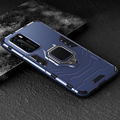 Silicone Matte Finish and Plastic Back Cover Case with Magnetic Finger Ring Stand for Huawei P40 Blue