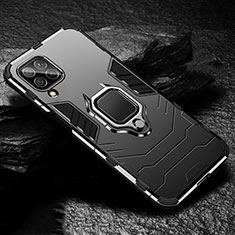 Silicone Matte Finish and Plastic Back Cover Case with Magnetic Finger Ring Stand for Huawei P40 Lite Black