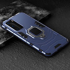 Silicone Matte Finish and Plastic Back Cover Case with Magnetic Finger Ring Stand for Huawei P40 Pro Blue