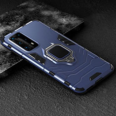 Silicone Matte Finish and Plastic Back Cover Case with Magnetic Finger Ring Stand for Huawei P40 Pro+ Plus Blue