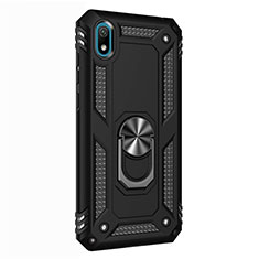 Silicone Matte Finish and Plastic Back Cover Case with Magnetic Finger Ring Stand for Huawei Y5 (2019) Black