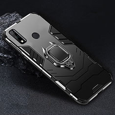 Silicone Matte Finish and Plastic Back Cover Case with Magnetic Finger Ring Stand for Huawei Y8s Black
