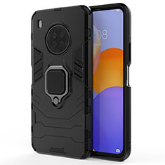 Silicone Matte Finish and Plastic Back Cover Case with Magnetic Finger Ring Stand for Huawei Y9a Black
